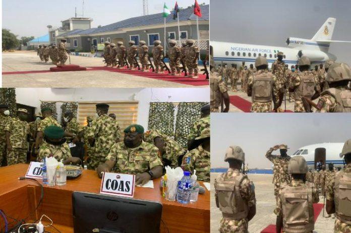 New service Chiefs visit ATF command Operation Lafiya Dole in Maiduguri