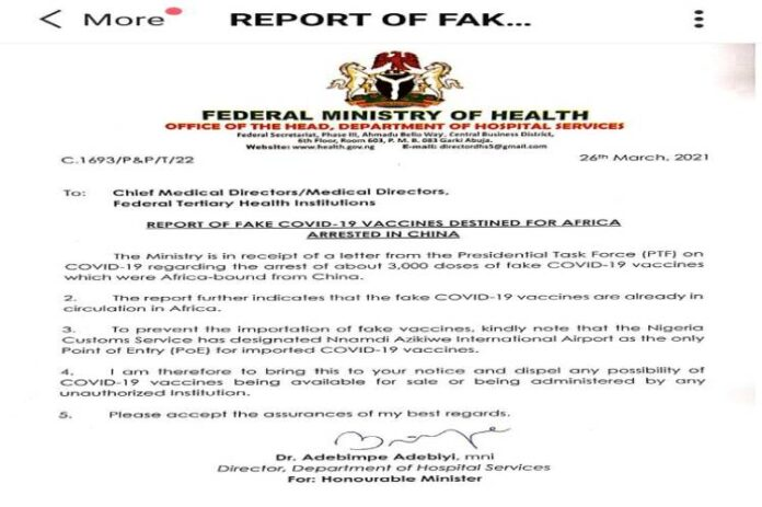 FG raises the alarm over fake Covid-19 in circulation