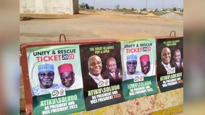 2023: Atiku speaks on campaign posters with Charles Soludo